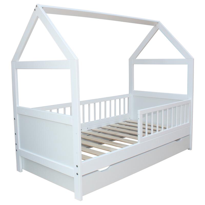 kinderbett juniorbett bett haus 160 x 70 cm optional mit matratze und schublade ebay. Black Bedroom Furniture Sets. Home Design Ideas