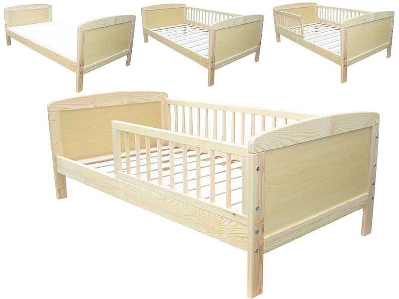 kinderbett juniorbett kiefer massiv 140 x 70 cm umbaubar incl lattenrost ebay. Black Bedroom Furniture Sets. Home Design Ideas