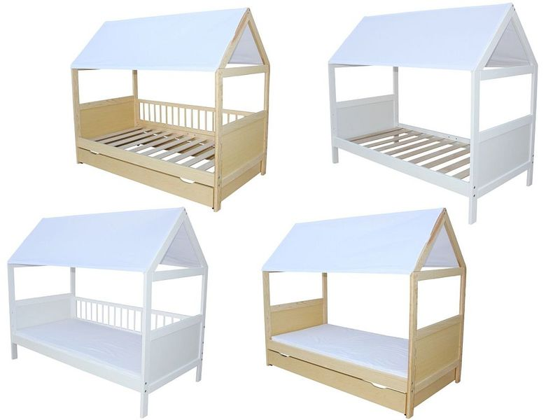 kinderbett juniorbett haus 140 x 70 cm mit dach in verschiedenen farben ebay. Black Bedroom Furniture Sets. Home Design Ideas