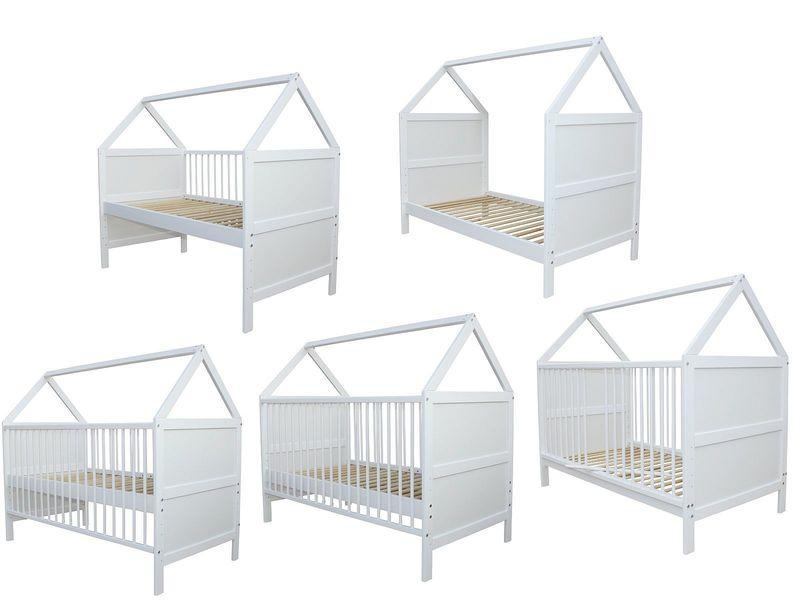 Babybett  Kinderbett Pink nr 15 Juniorbett umbaubar 140x70 Weiß