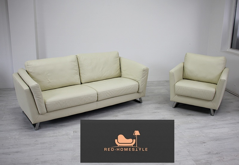 designer 2er sessel garnitur echtleder sofa beige couch sitzm bel lounge ebay. Black Bedroom Furniture Sets. Home Design Ideas