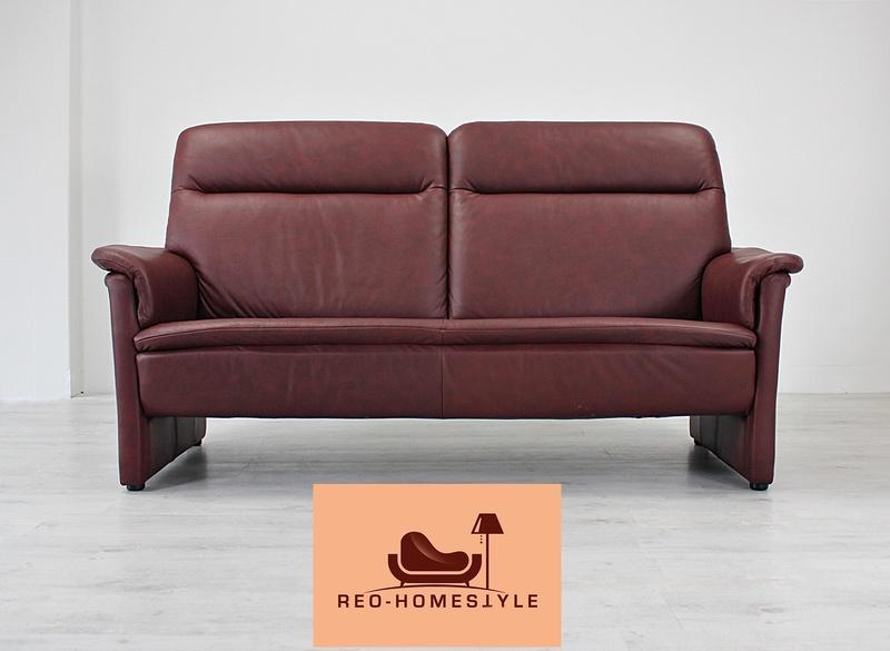 designer sofa bordeaux rot couch leder dreisitzer modern echtleder wohnzimmer ebay. Black Bedroom Furniture Sets. Home Design Ideas