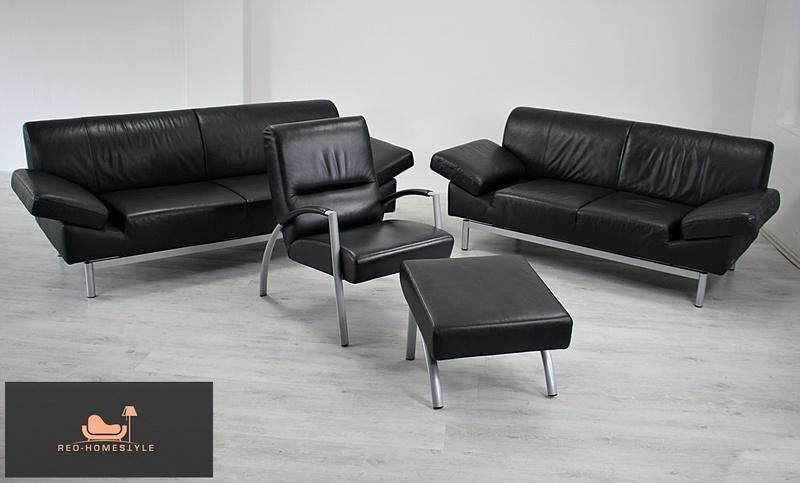 laauser 3er 2er sessel hocker sofa couch leder schwarz designer modern ebay. Black Bedroom Furniture Sets. Home Design Ideas