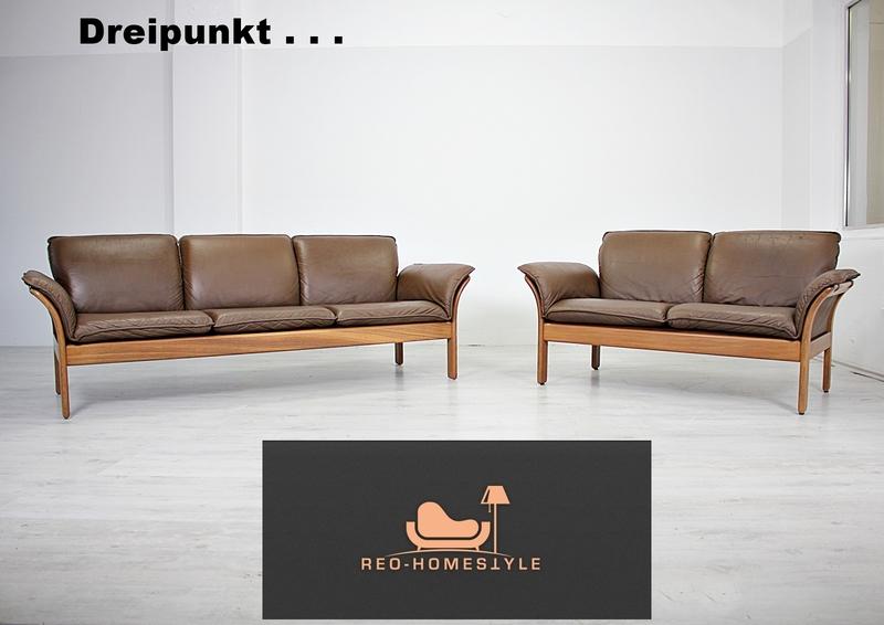 Dreipunkt Designer Garnitur Sofa Leder Braun 3/2 Couch ...